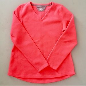 EUC Neon Pink Fleece V-Neck Pullover
